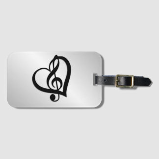 Music G Heart on Silver Luggage Tag
