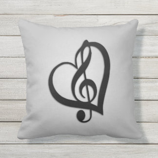 Music G Heart on Silver Outdoor Cushion