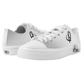 Music G Heart on Silver Printed Shoes