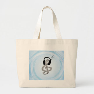 Music Gclef with headset Large Tote Bag