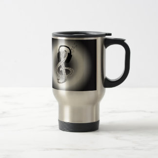 Music Gclef with headset Stainless Steel Travel Mug