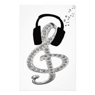 Music Gclef with headset Personalized Stationery