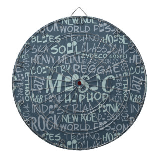 Music Genres Word Collage dart board