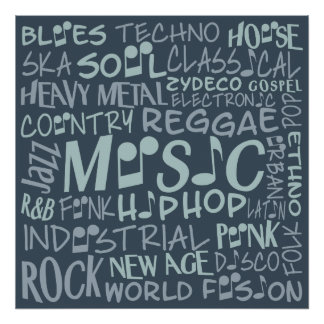 Music Genres Word Collage poster