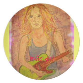 music girl art dinner plate