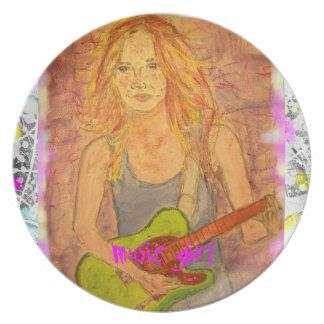 music girl drip dinner plates