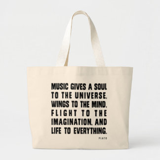 Music Gives A Soul To The Universe Large Tote Bag