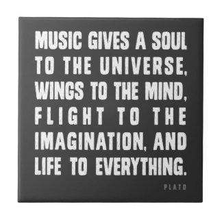 Music Gives A Soul To The Universe Small Square Tile
