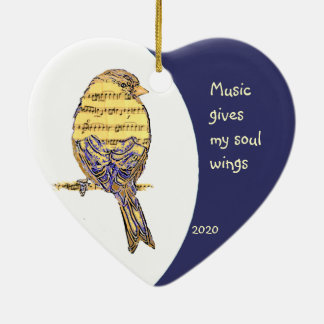 Music  gives my soul wings Quote Music Note Bird Ceramic Ornament