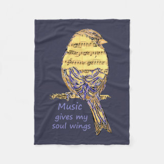 Music  gives my soul wings Quote Music Note Bird Fleece Blanket