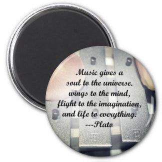 Music gives soul bells rose design 6 cm round magnet