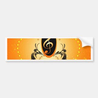 Music, Golden clef with decorative damasks Bumper Sticker
