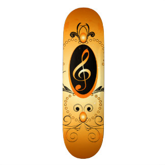 Music, Golden clef with decorative damasks Skate Deck