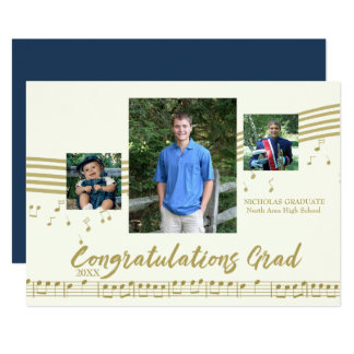 Music Graduate Photo Ivory and Gold Card