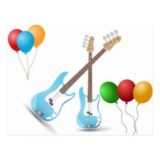 Music Guitar Blue Party Shower Pattern Destiny Postcard