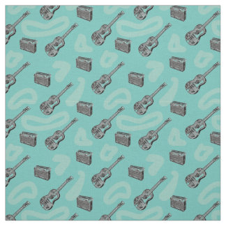 Music Guitar Radio Pattern Choose Color Background Fabric