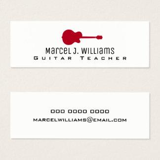music guitar teacher prof white mini business card