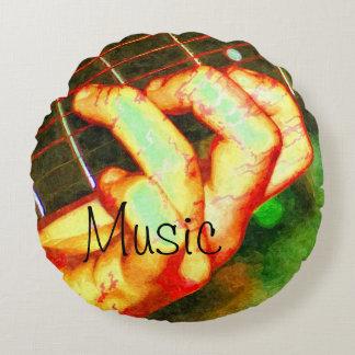Music Guitar Theme Round Cushion