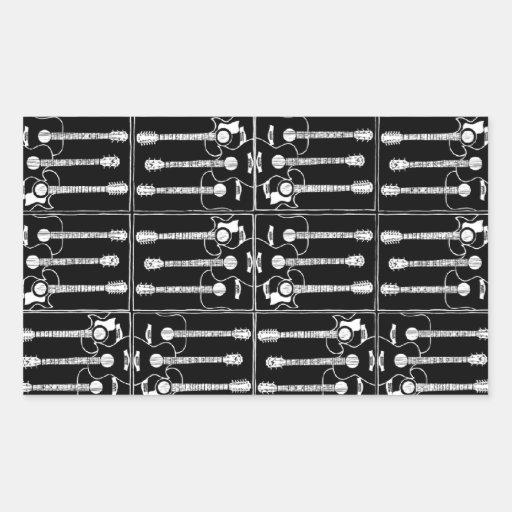 Music guitars pattern rectangle stickers