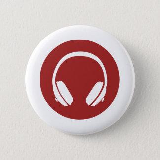 Music Headphones 6 Cm Round Badge