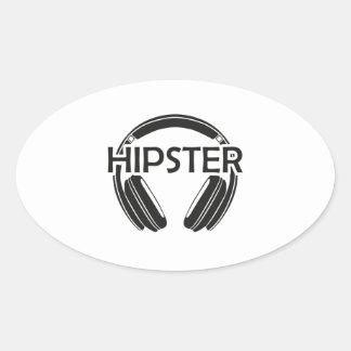 Music Headphones Hipster Oval Sticker