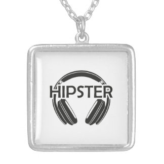 Music Headphones Hipster Silver Plated Necklace