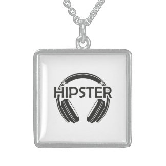 Music Headphones Hipster Sterling Silver Necklace