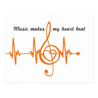 MUSIC HEART BEAT beaten Music of the heart Postcard