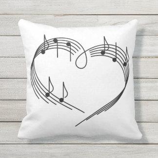 Music Heart Outdoor Throw Pillow