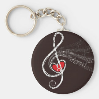 Music Hearts Basic Round Button Key Ring