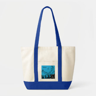 Music Illustration custom monogram tote bags