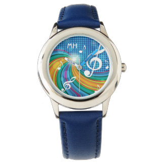 Music Illustration custom monogram watches