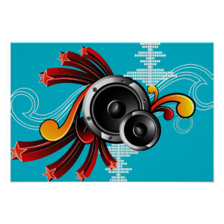 music illustration with speaker and design element poster