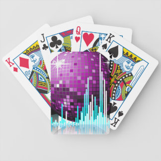 music illustration with speakers and disco ball bicycle playing cards