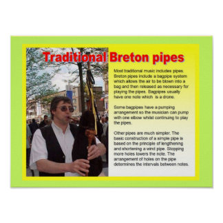 Music, instruments, Traditional Breton pipes Poster