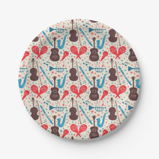 Music is Everywhere Pattern 7 Inch Paper Plate