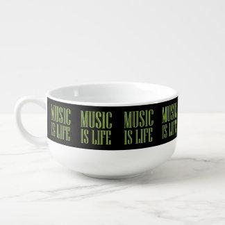 """""""Music Is Life"""" Black And Green Soup Mug"""