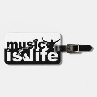 Music Is Life custom luggage tag