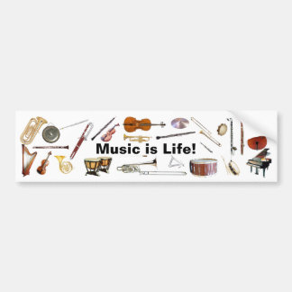 """Music is Life"" Instrument Bumper Sticker"