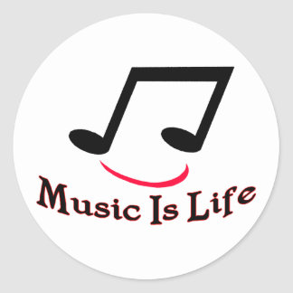 Music Is Life Musical Note Smiley Classic Round Sticker