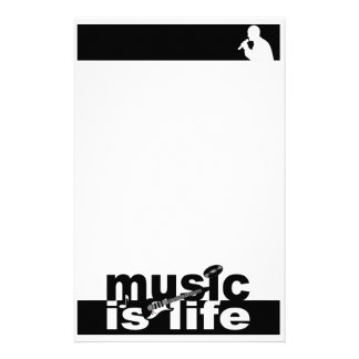 Music is Life stationary, customize Custom Stationery