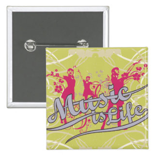 Music is Life T-shirts and Gifts Pins
