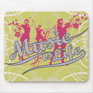 Music is Life T-shirts and Gifts Mouse Pads