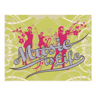 Music is Life T-shirts and Gifts Post Card