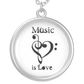 Music is Love Silver Plated Necklace