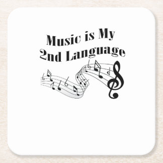 Music is My 2nd Language Love Music Gift Square Paper Coaster