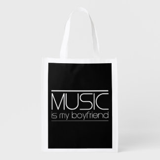 Music Is My Boyfriend Grocery Bags