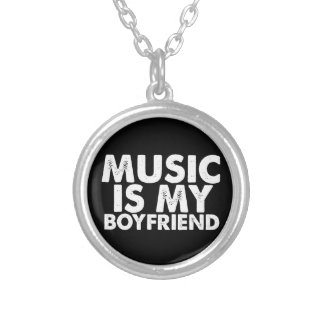 Music Is My Boyfriend Round Pendant Necklace