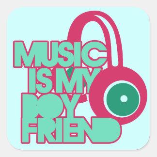 Music is my Boyfriend Square Sticker