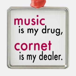 Music Is My Drug Cornet Is My Dealer Christmas Tree Ornaments